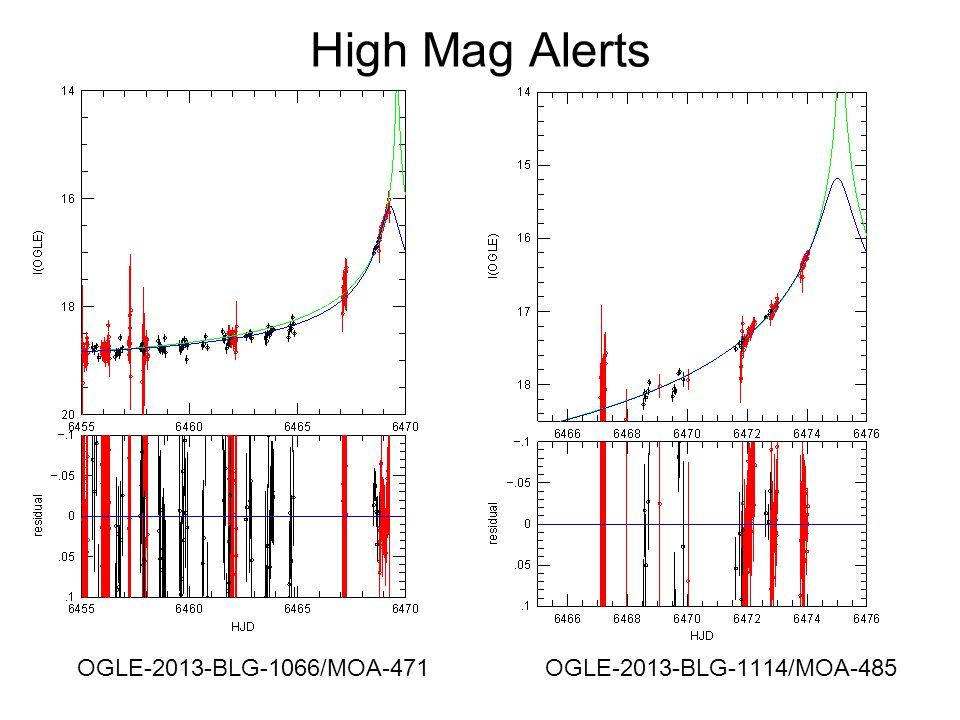 High Mag Alerts OGLE-2013-BLG-1066/MOA-471 OGLE-2013-BLG-1114/MOA-485