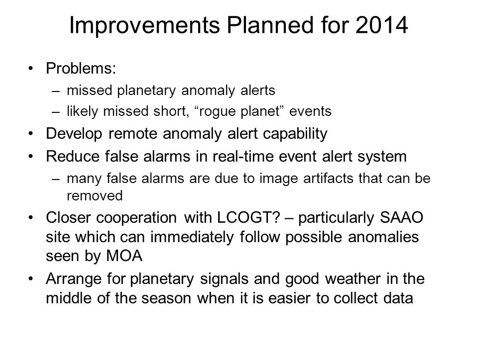 Improvements Planned for 2014