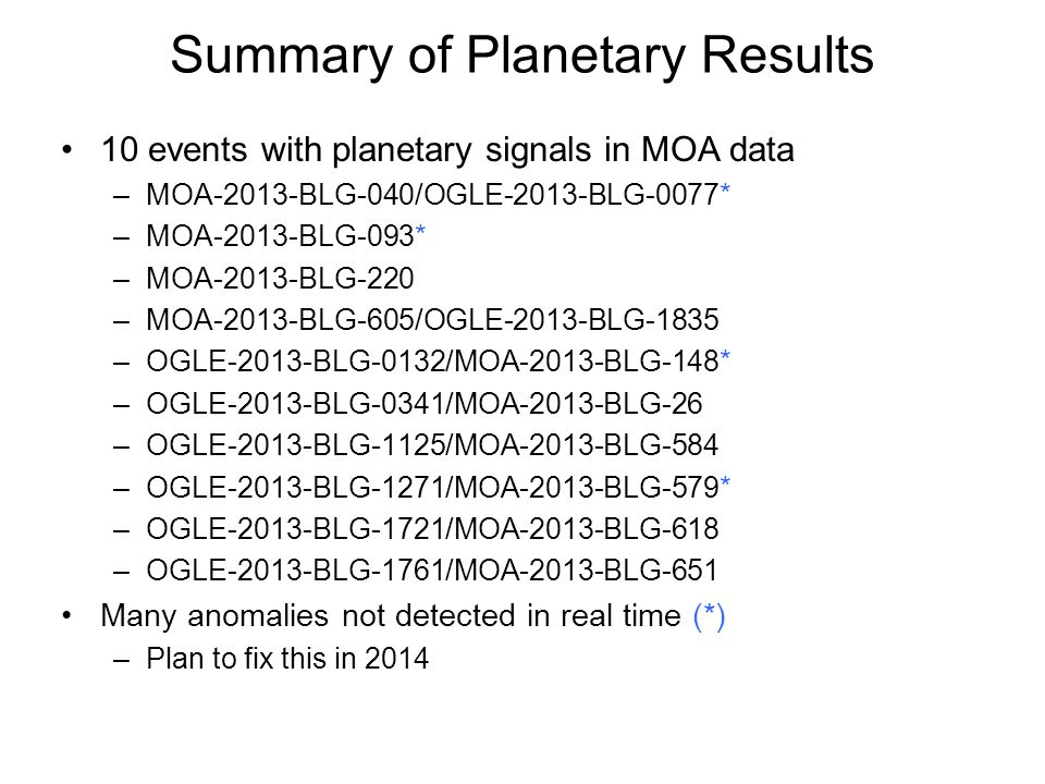 Summary of Planetary Results