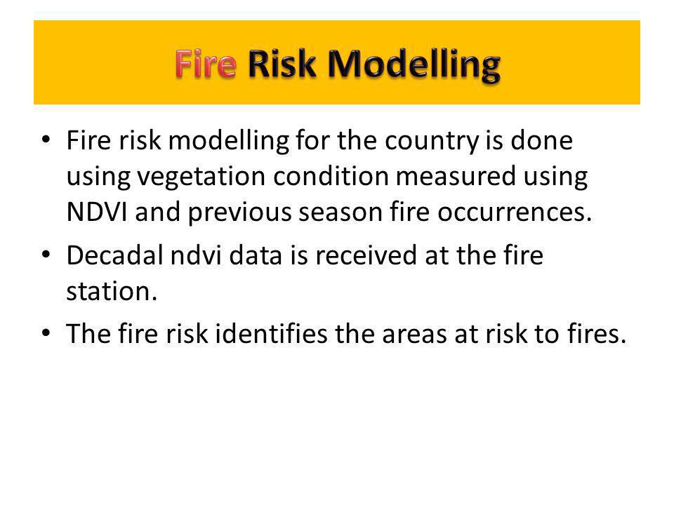 Fire Risk Modelling Fire risk modelling for the country is done using vegetation condition measured using NDVI and previous season fire occurrences.