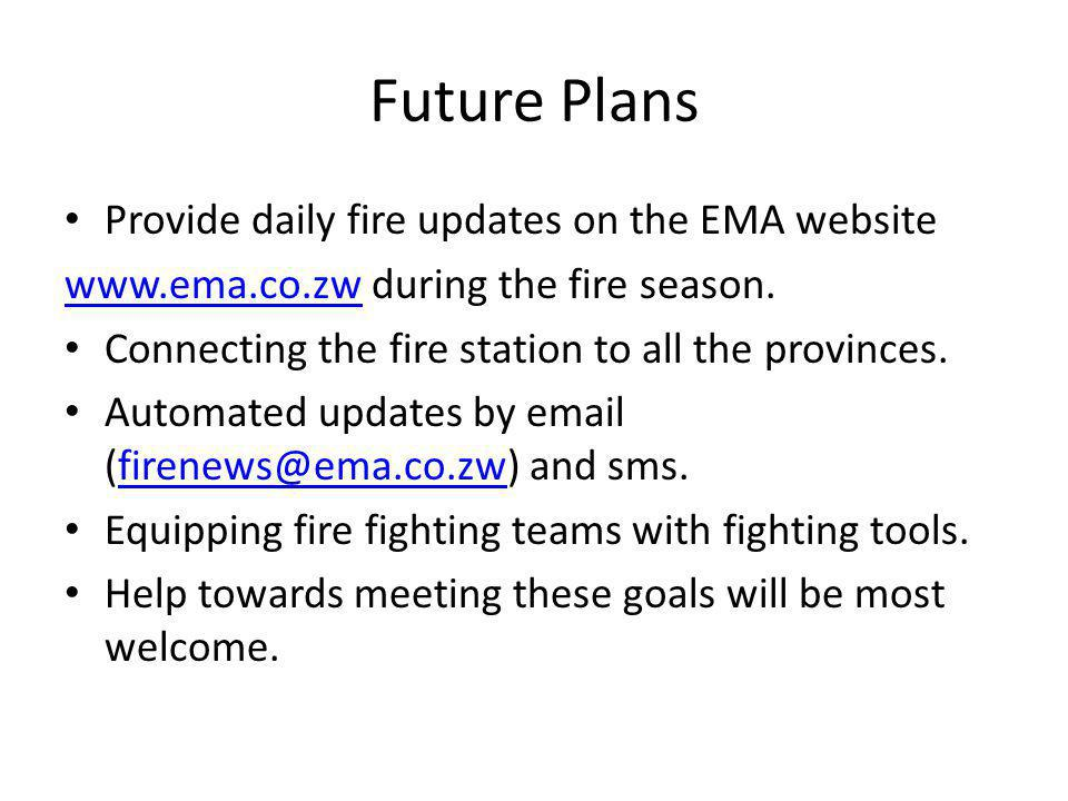Future Plans Provide daily fire updates on the EMA website