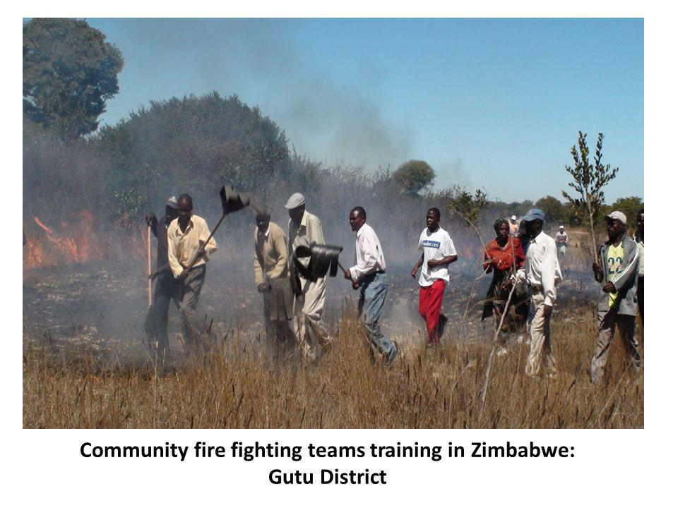 Community fire fighting teams training in Zimbabwe: Gutu District
