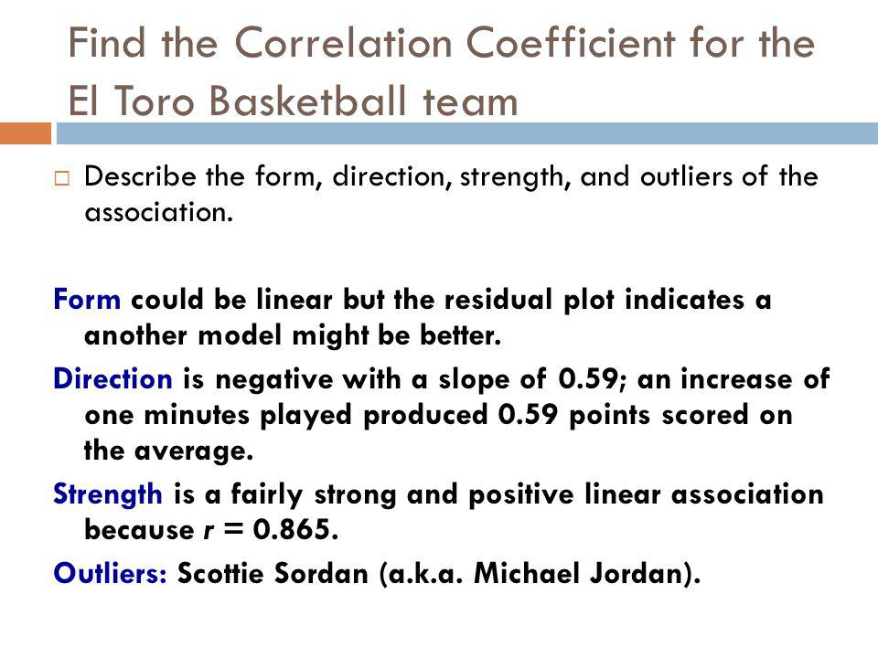 Find the Correlation Coefficient for the El Toro Basketball team