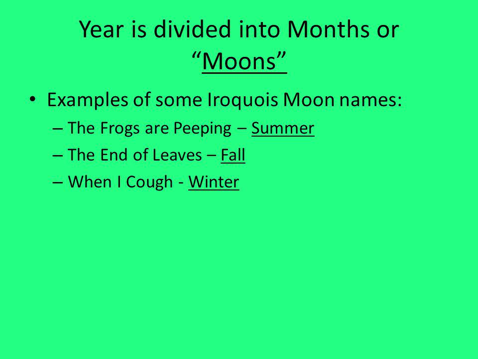 Year is divided into Months or Moons