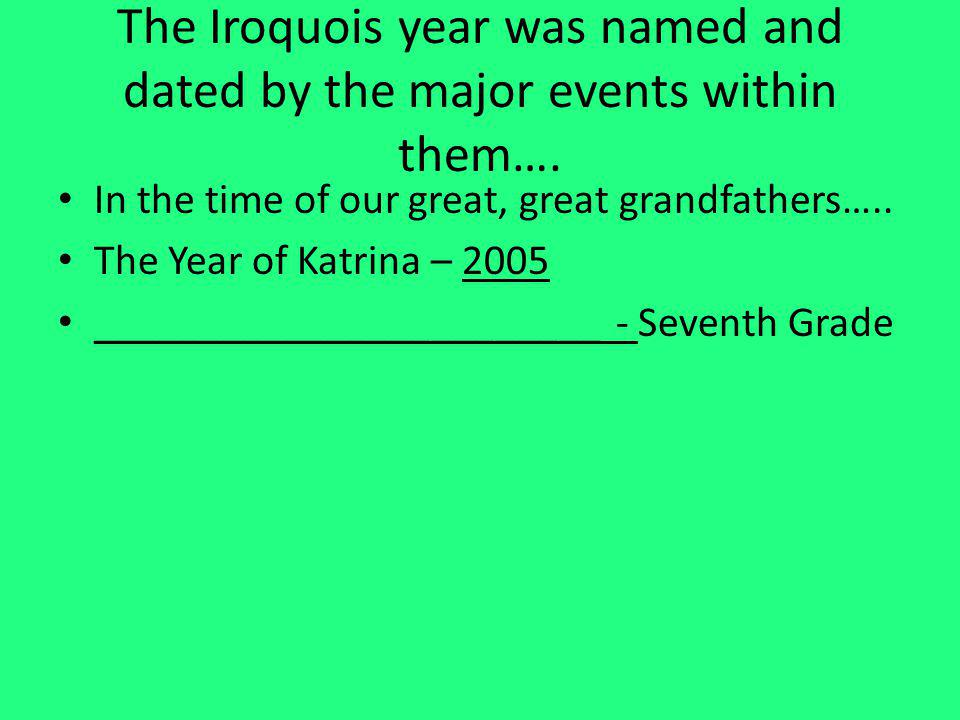 The Iroquois year was named and dated by the major events within them….