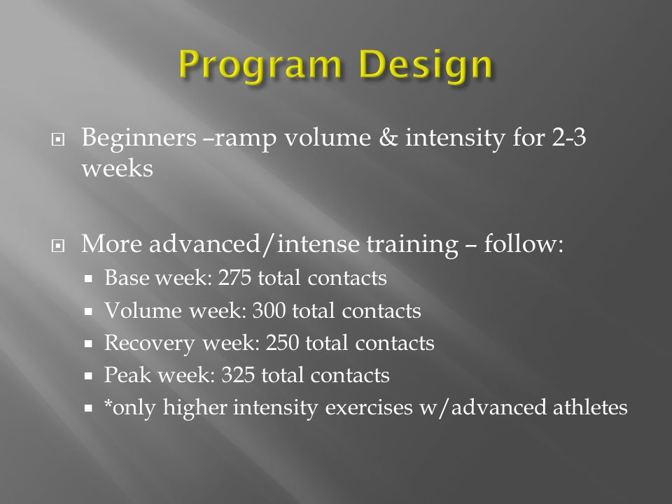 Program Design Beginners –ramp volume & intensity for 2-3 weeks