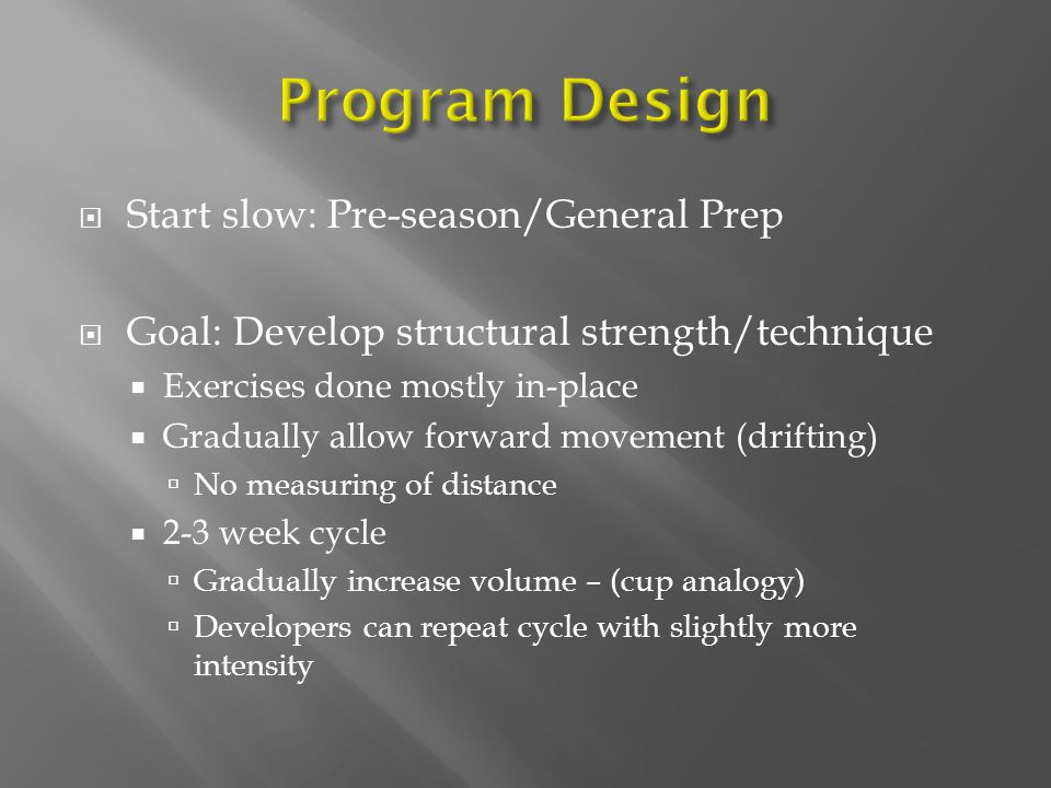 Program Design Start slow: Pre-season/General Prep