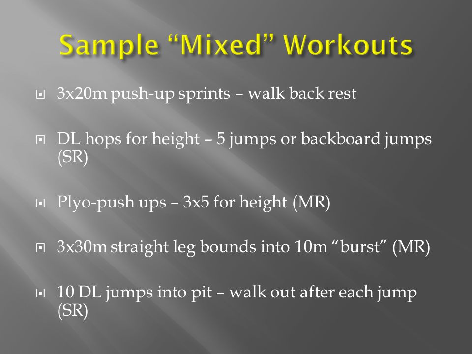 Sample Mixed Workouts