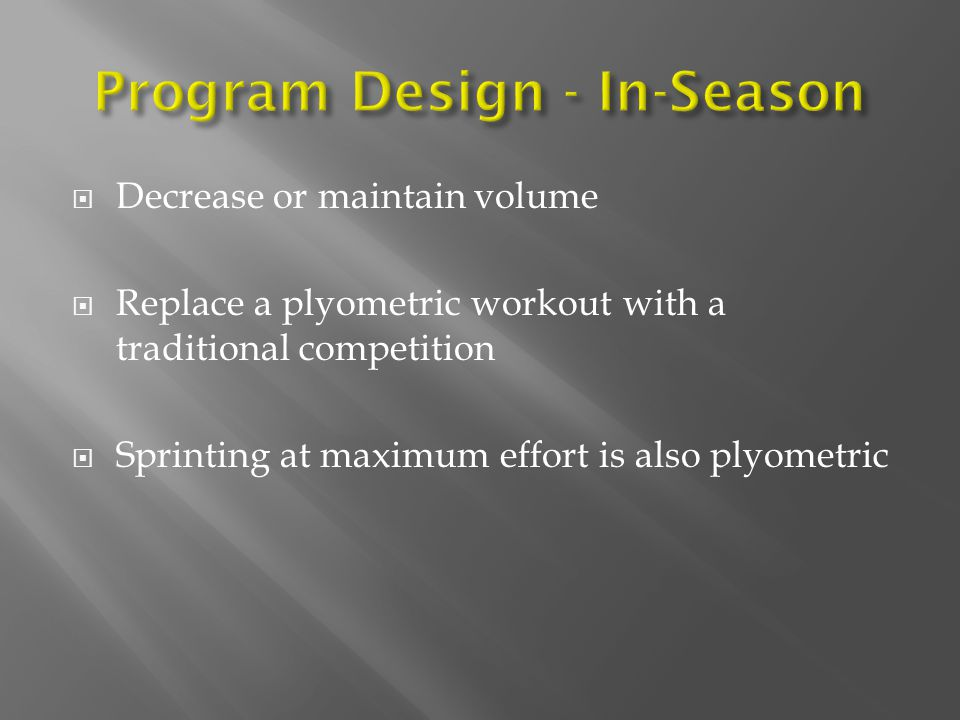 Program Design - In-Season