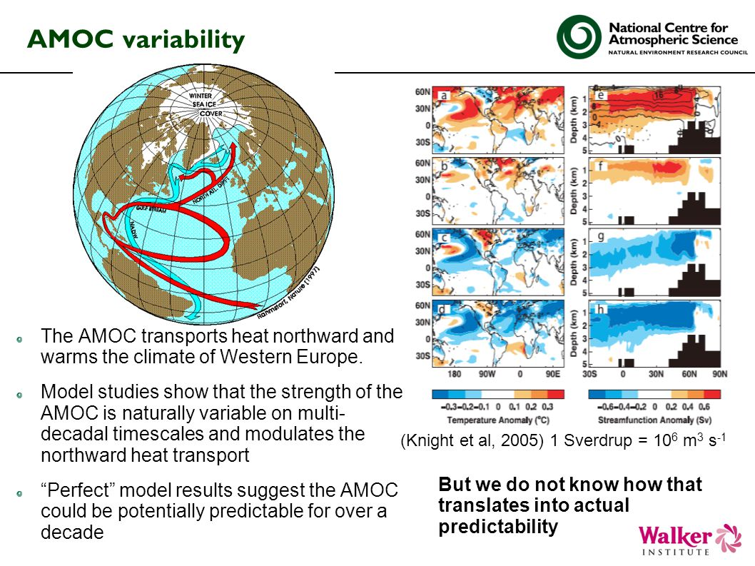 AMOC variability The AMOC transports heat northward and warms the climate of Western Europe.