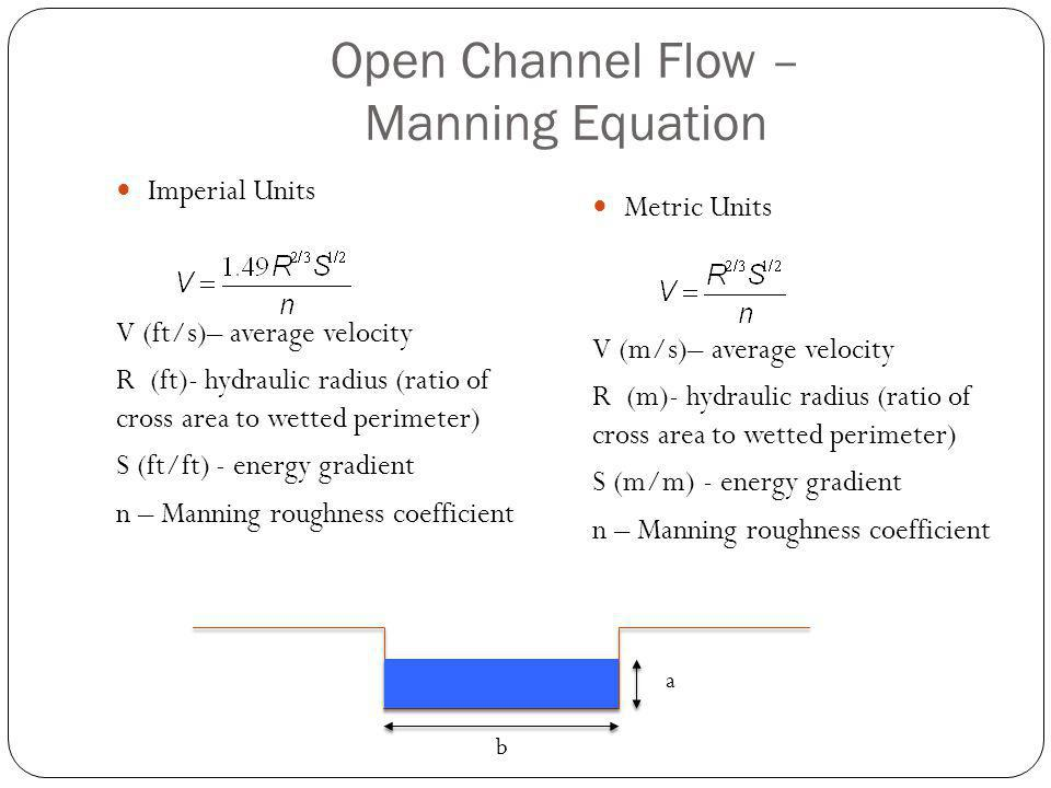 Open Channel Flow – Manning Equation