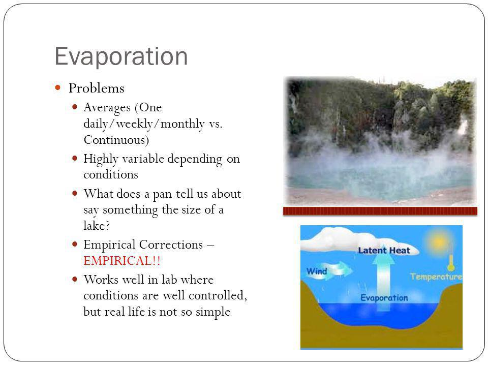 Evaporation Problems. Averages (One daily/weekly/monthly vs. Continuous) Highly variable depending on conditions.