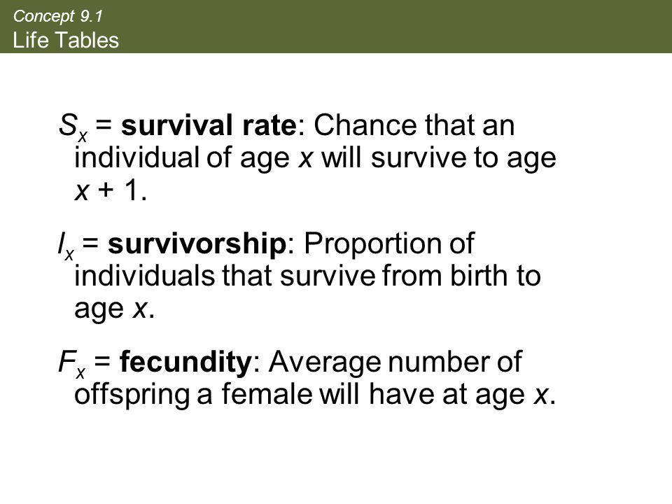 Concept 9.1 Life Tables Sx = survival rate: Chance that an individual of age x will survive to age x + 1.