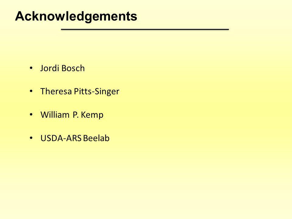 Acknowledgements Jordi Bosch Theresa Pitts-Singer William P. Kemp