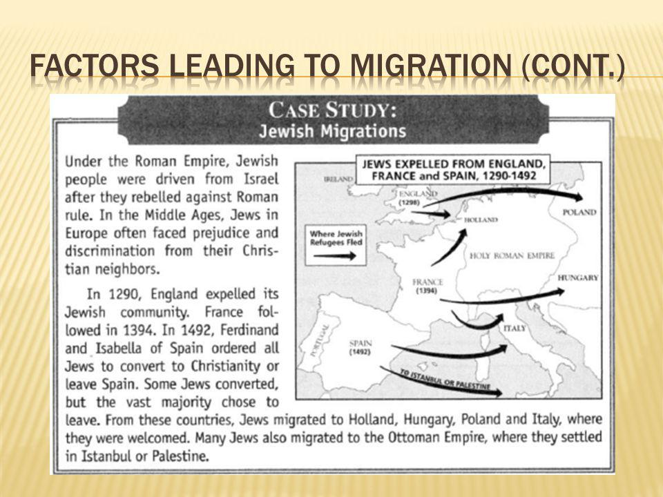 Factors Leading to Migration (cont.)