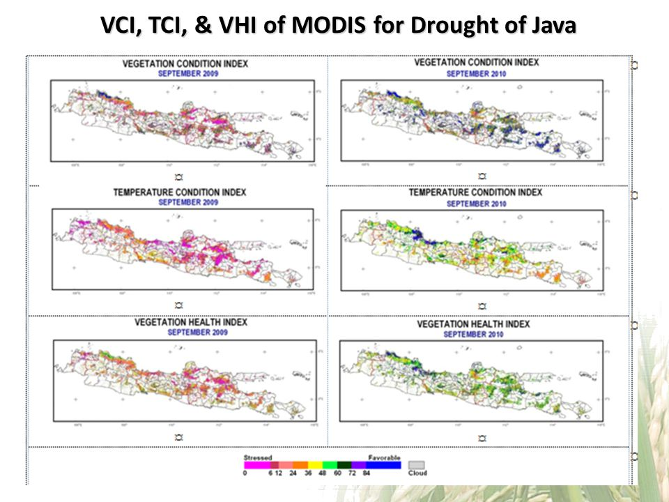 VCI, TCI, & VHI of MODIS for Drought of Java