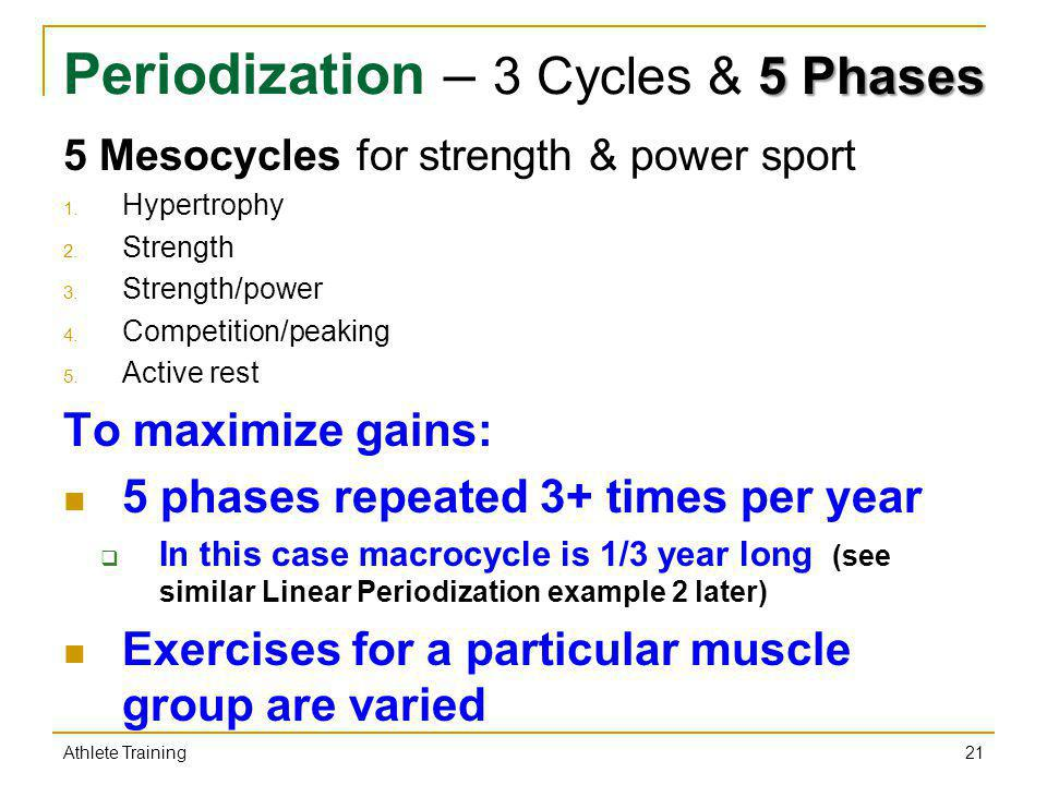 Periodization – 3 Cycles & 5 Phases