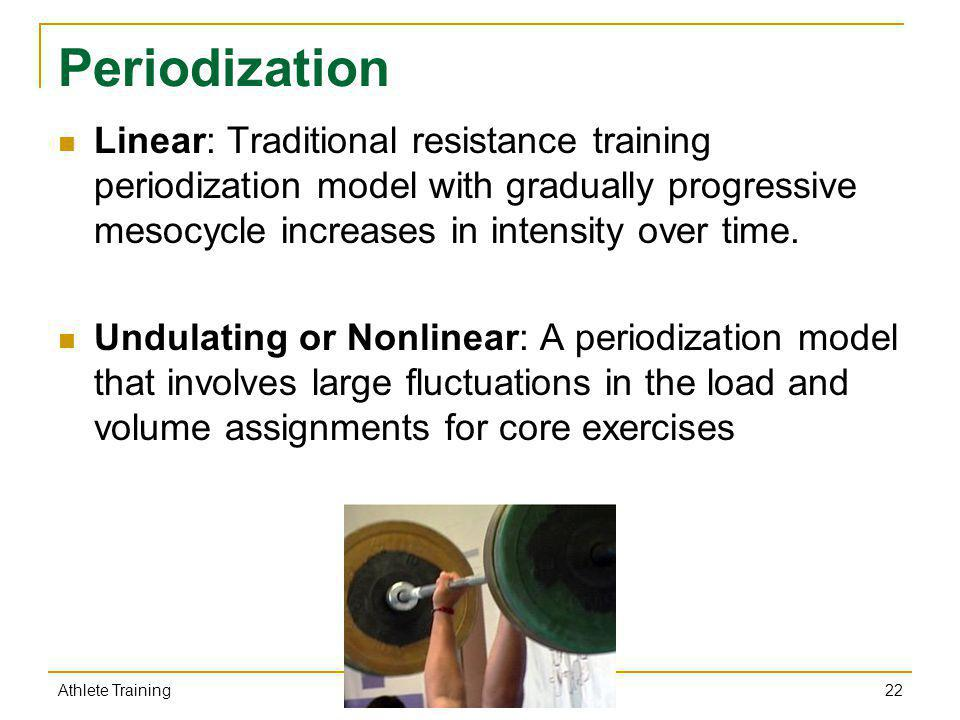 Periodization Linear: Traditional resistance training periodization model with gradually progressive mesocycle increases in intensity over time.