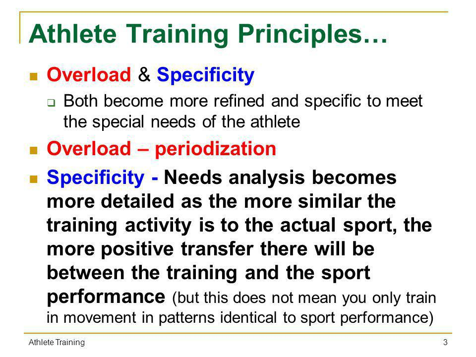 Athlete Training Principles…
