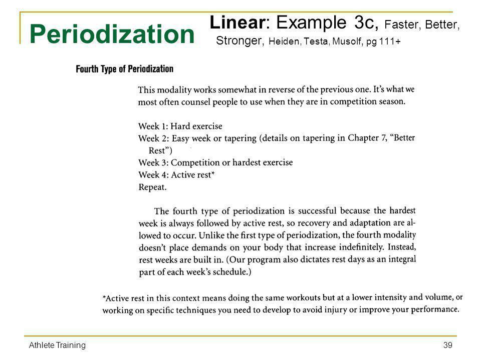 Linear: Example 3c, Faster, Better, Stronger, Heiden, Testa, Musolf, pg 111+