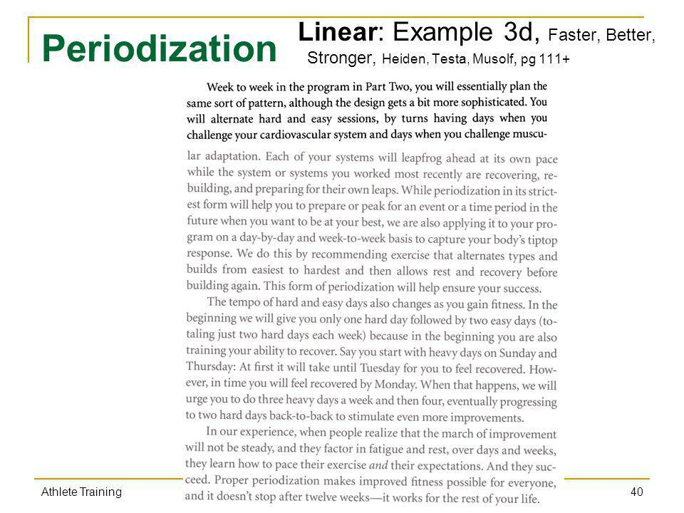 Linear: Example 3d, Faster, Better, Stronger, Heiden, Testa, Musolf, pg 111+