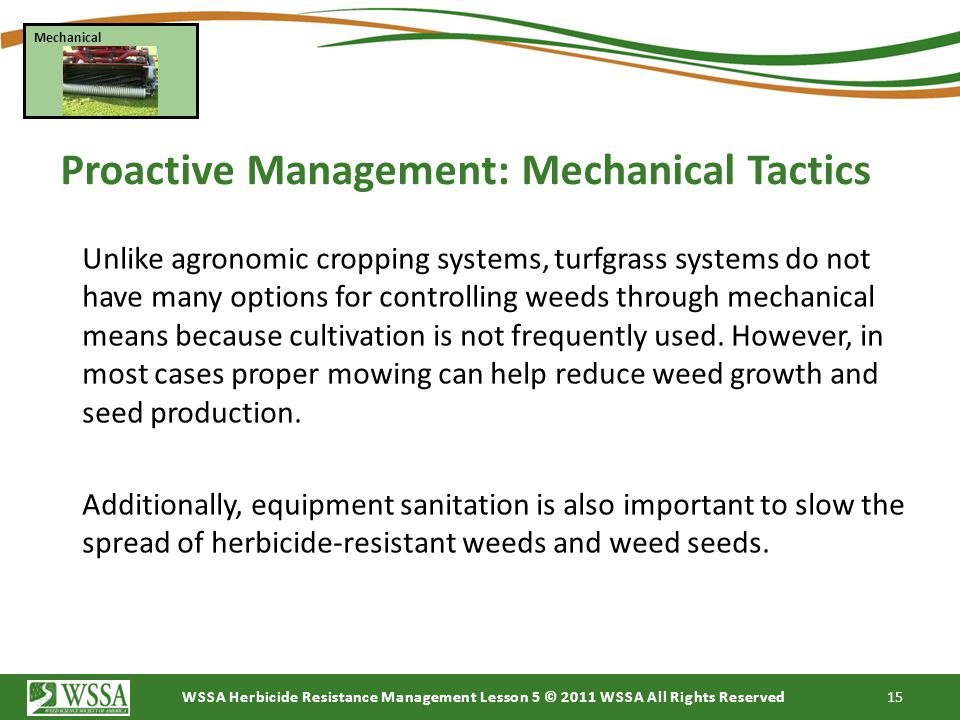 Proactive Management: Mechanical Tactics