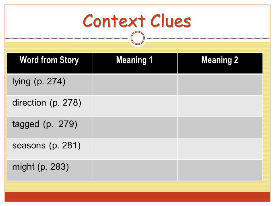 Context Clues Word from Story Meaning 1 Meaning 2 lying (p. 274)
