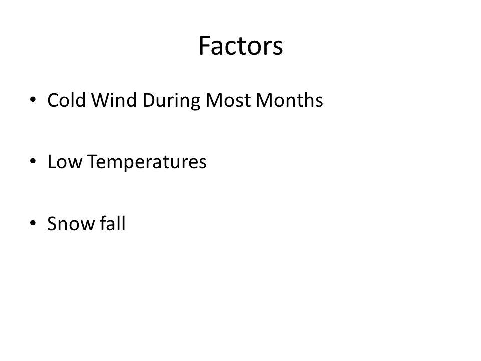 Factors Cold Wind During Most Months Low Temperatures Snow fall