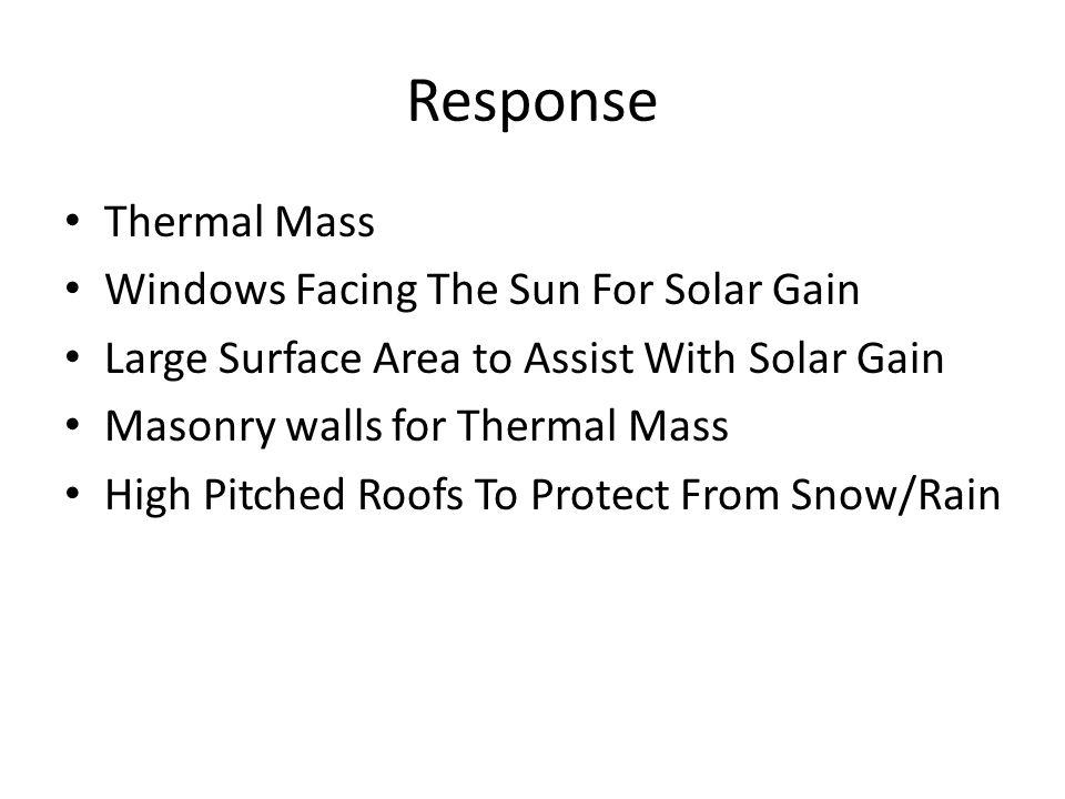 Response Thermal Mass Windows Facing The Sun For Solar Gain