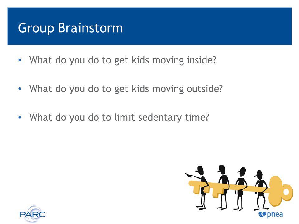 Group Brainstorm What do you do to get kids moving inside