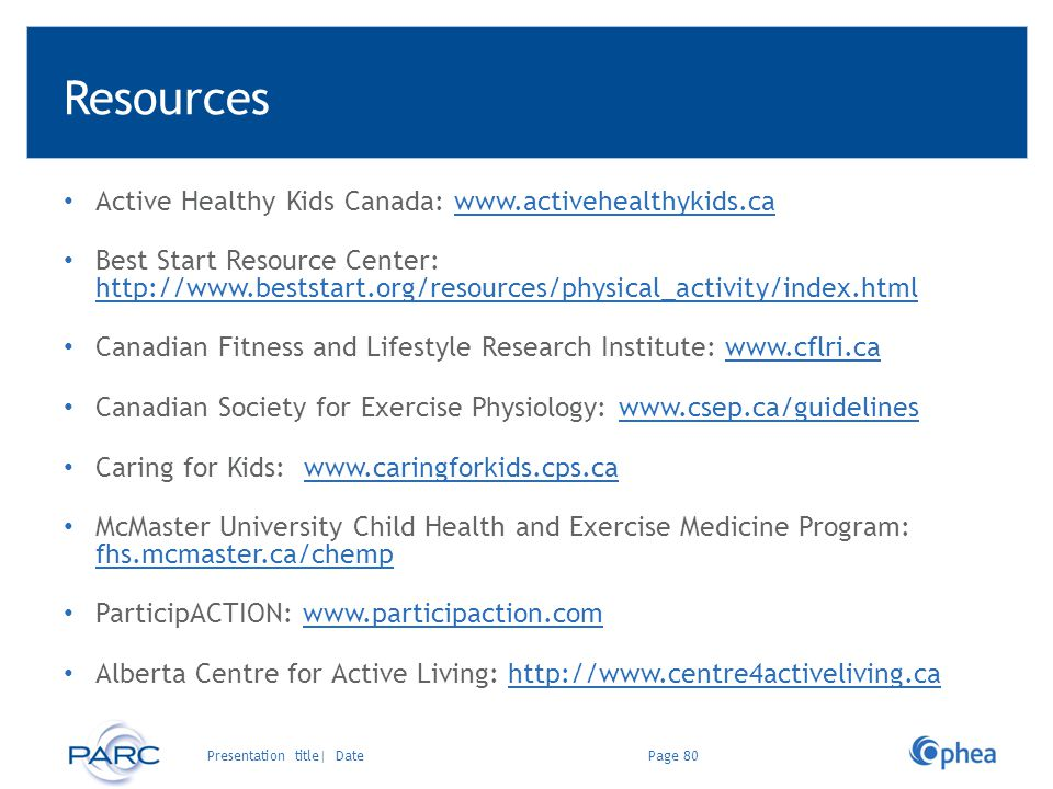 Resources Active Healthy Kids Canada: www.activehealthykids.ca