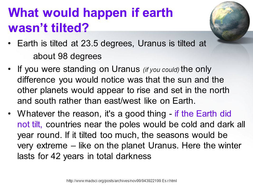 What would happen if earth wasn't tilted