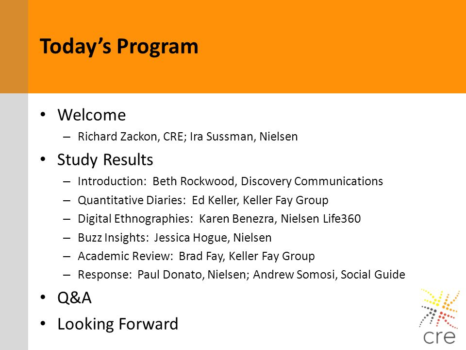 Today's Program Welcome Study Results Q&A Looking Forward