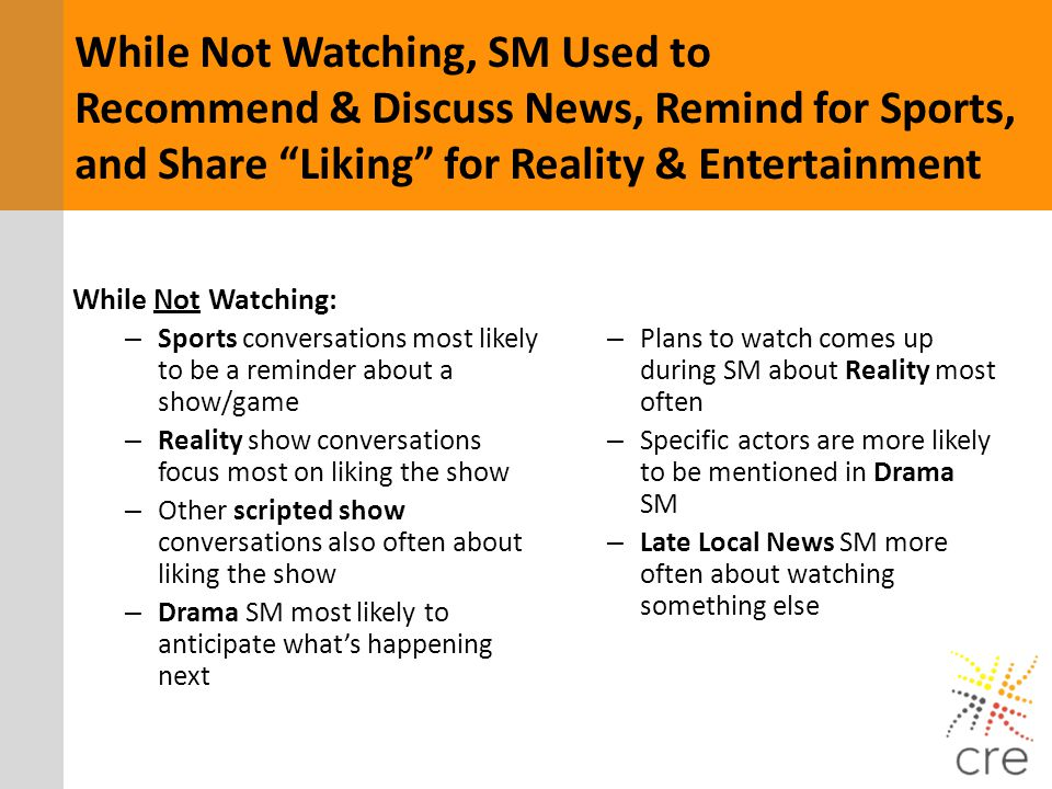 While Not Watching, SM Used to Recommend & Discuss News, Remind for Sports, and Share Liking for Reality & Entertainment