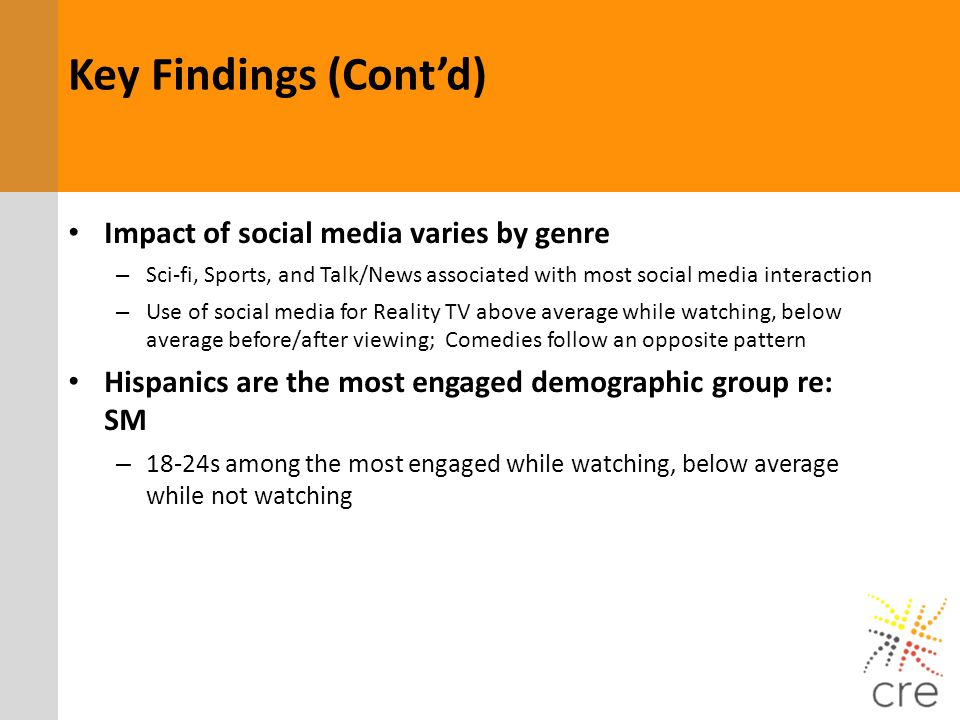Key Findings (Cont'd) Impact of social media varies by genre