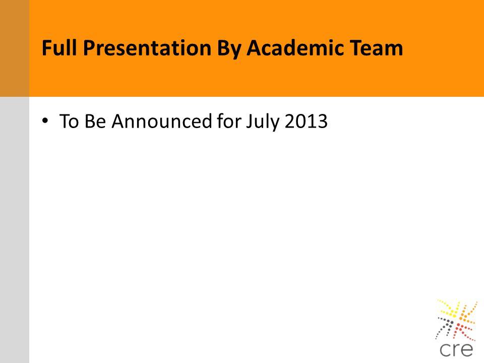 Full Presentation By Academic Team