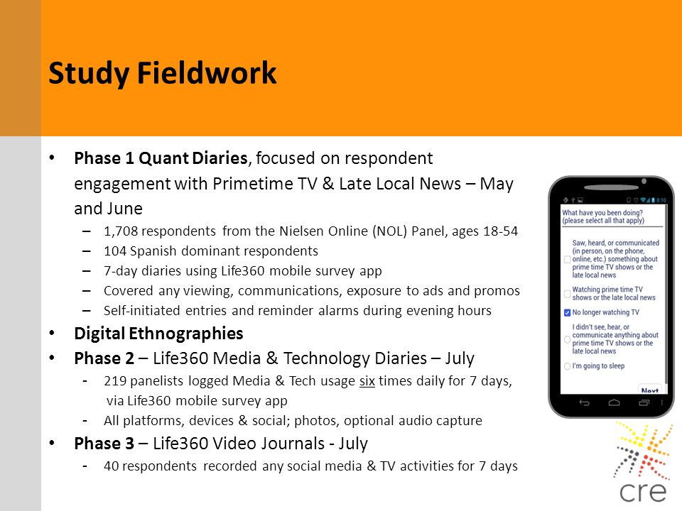 Study Fieldwork Phase 1 Quant Diaries, focused on respondent engagement with Primetime TV & Late Local News – May and June.