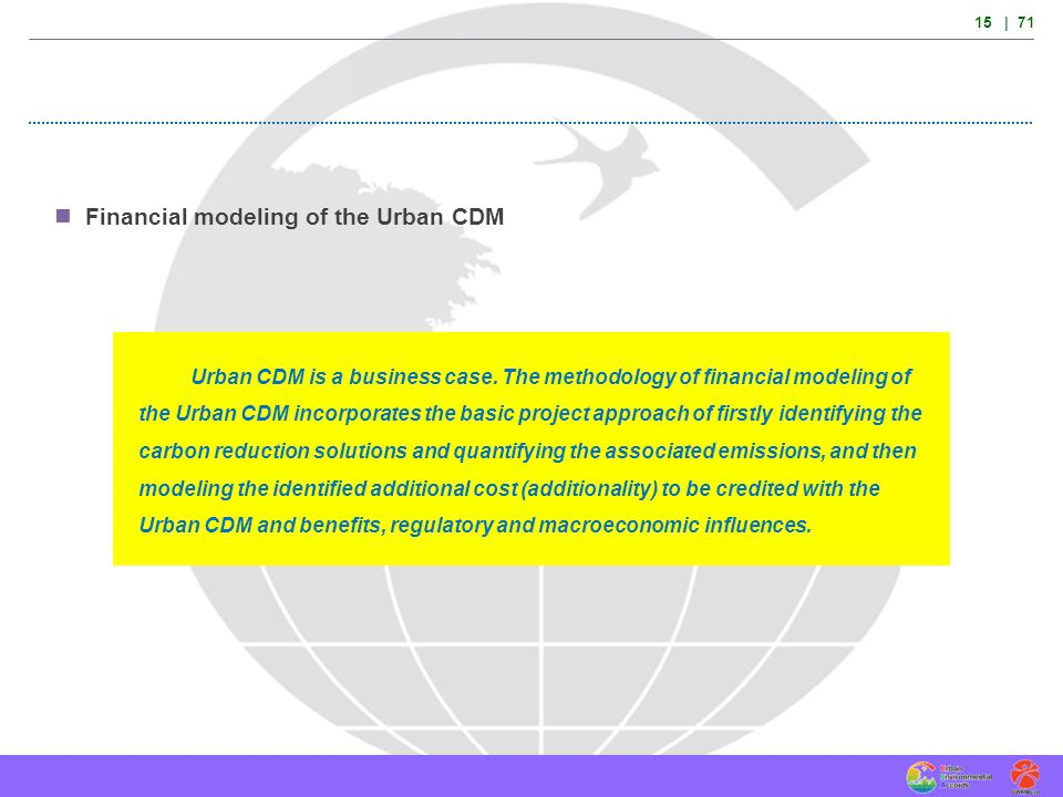 Financial modeling of the Urban CDM