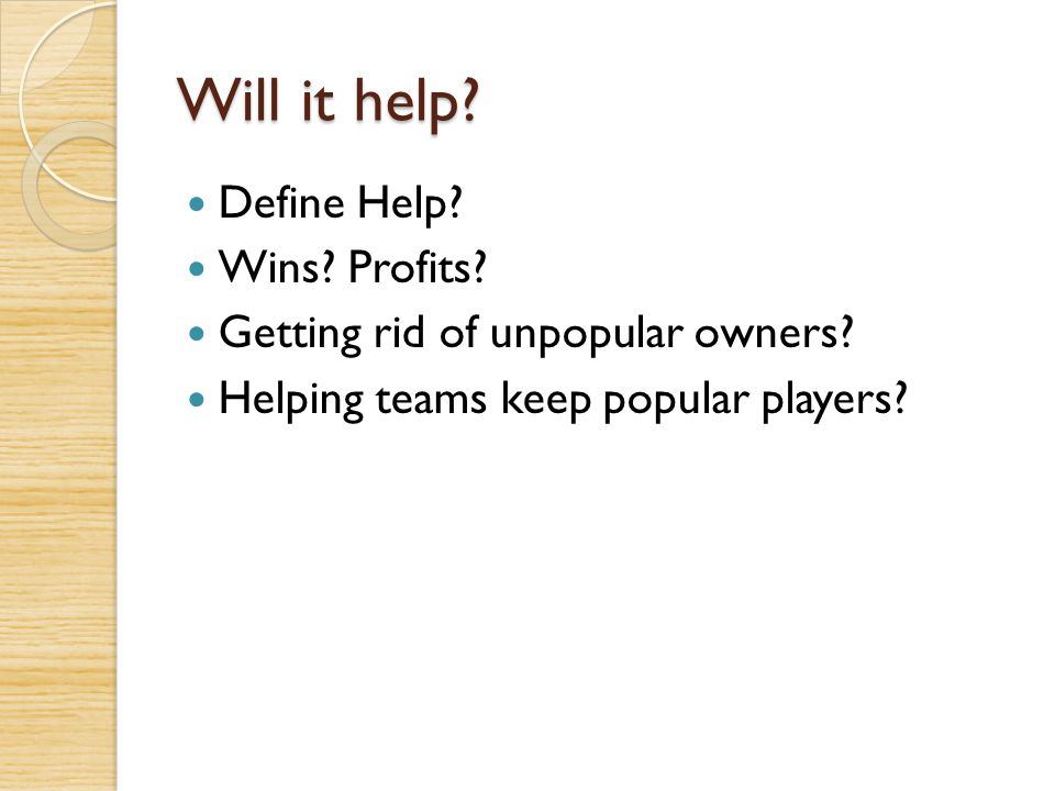 Will it help Define Help Wins Profits