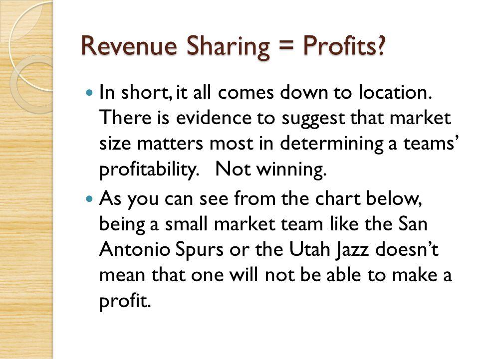 Revenue Sharing = Profits
