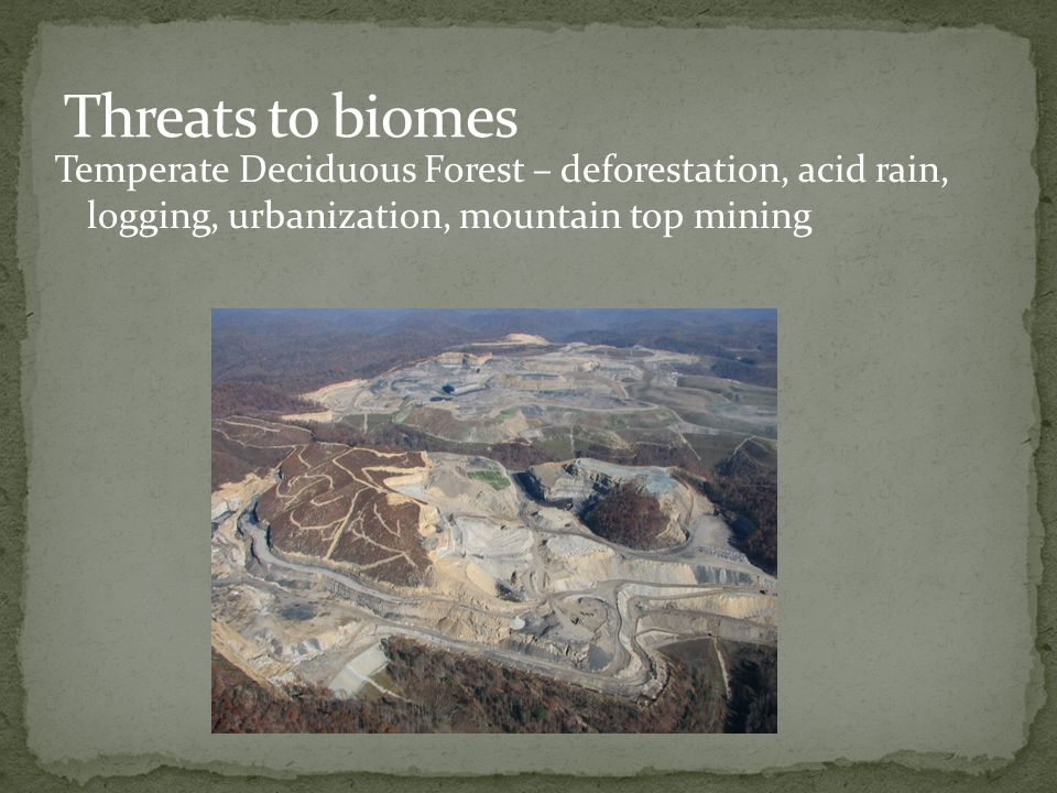 Threats to biomes Temperate Deciduous Forest – deforestation, acid rain, logging, urbanization, mountain top mining.
