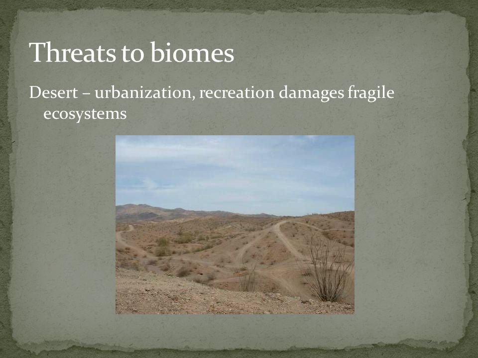 Threats to biomes Desert – urbanization, recreation damages fragile ecosystems