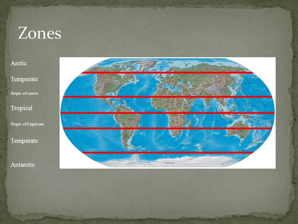 Zones Arctic Temperate Tropical Antarctic Tropic of cancer