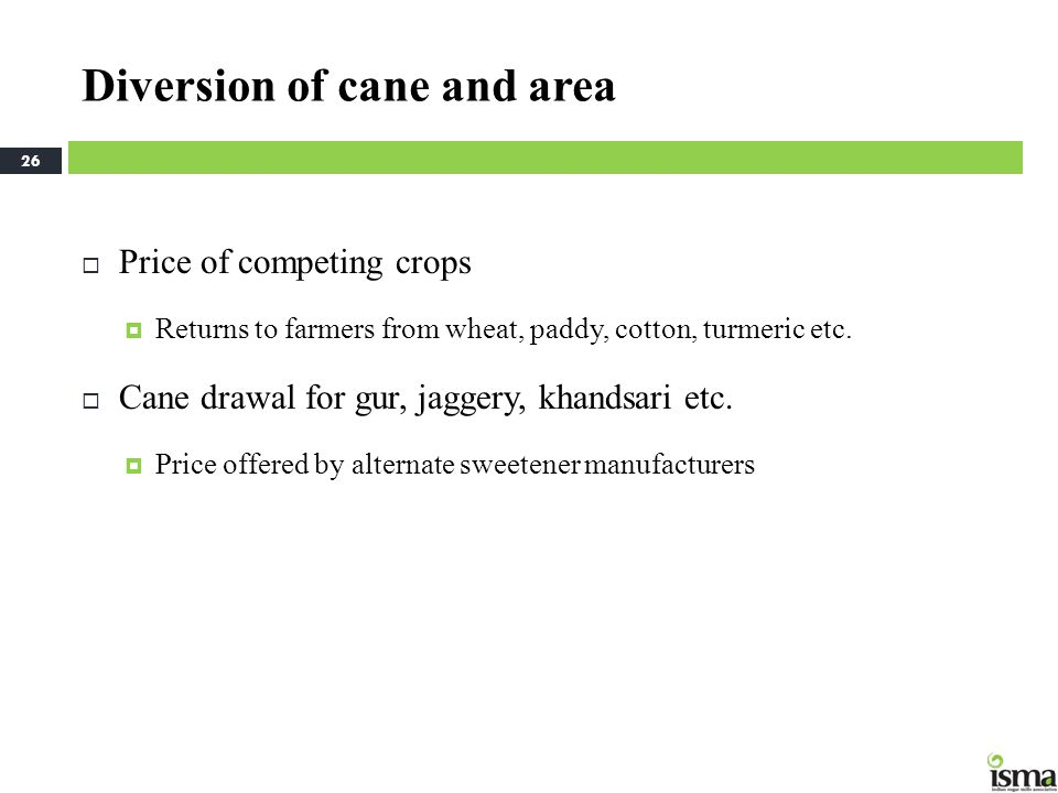 Diversion of cane and area