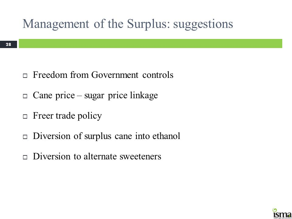 Management of the Surplus: suggestions