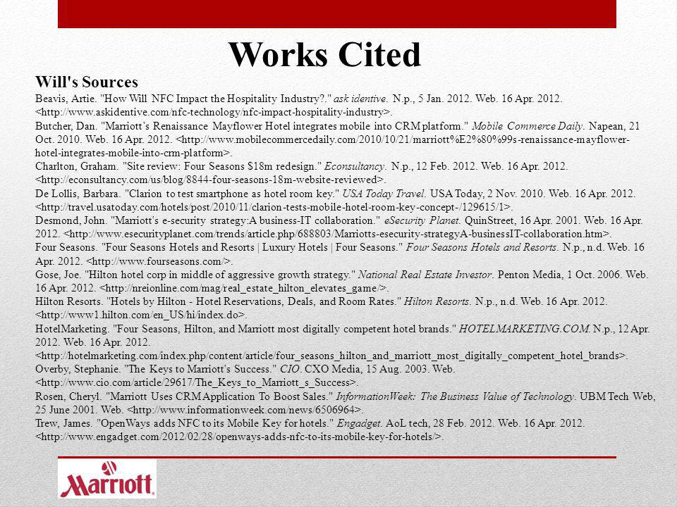 Works Cited Will s Sources