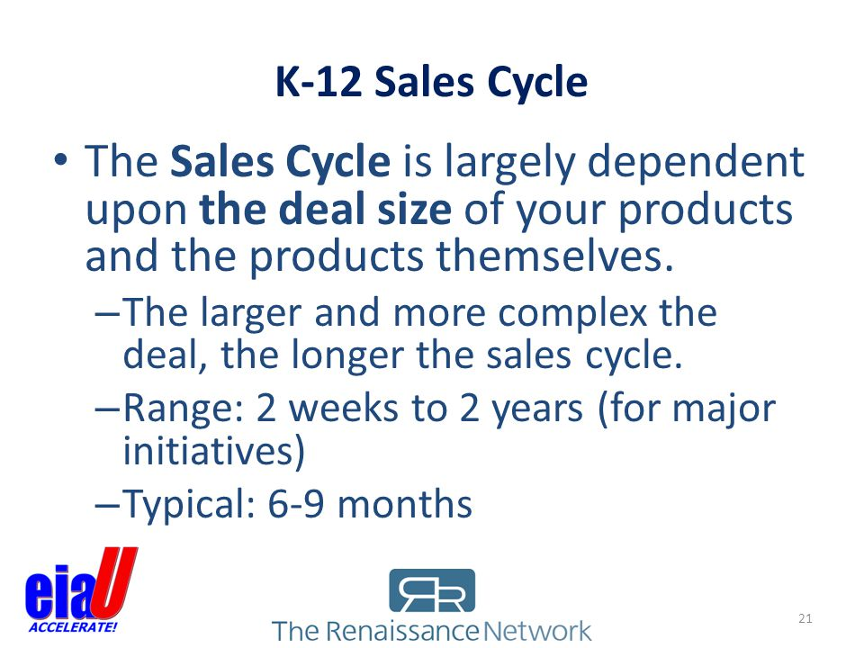K-12 Sales Cycle The Sales Cycle is largely dependent upon the deal size of your products and the products themselves.