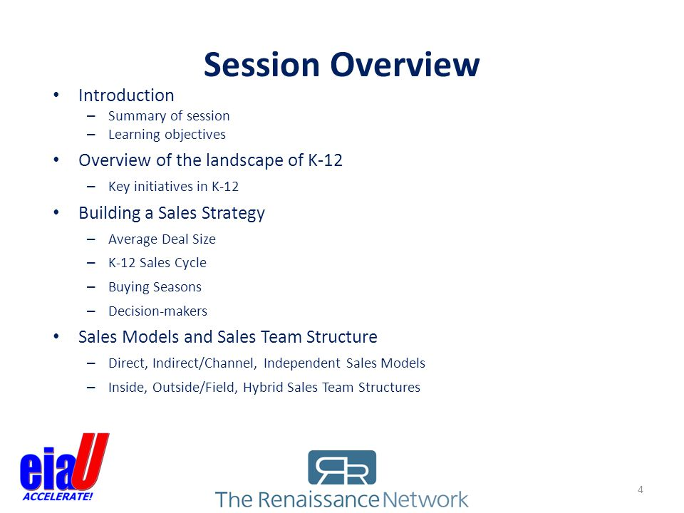 Session Overview Introduction Overview of the landscape of K-12