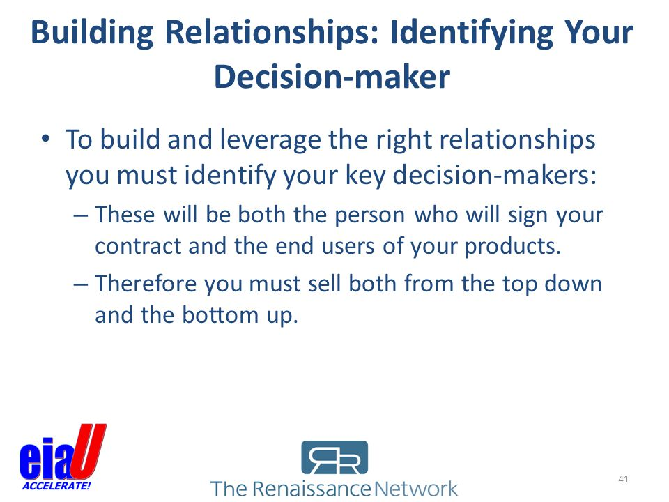 Building Relationships: Identifying Your Decision-maker