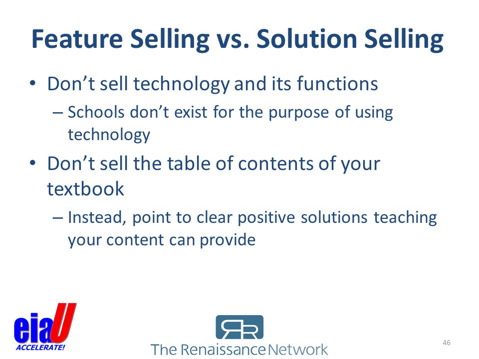Feature Selling vs. Solution Selling